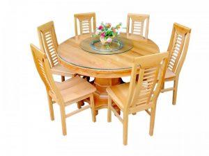Bộ bàn ăn gỗ sồi nga 6 ghế hình tròn