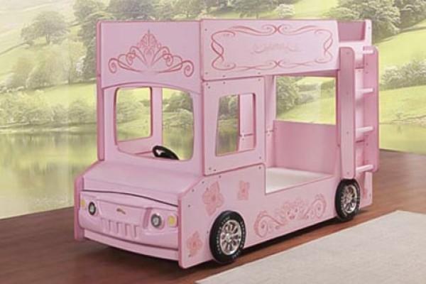 Giường tầng hình oto màu hồng cho bé gái