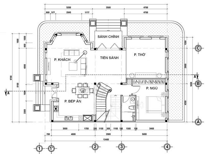 Tầng 1 mẫu biệt thự 2 tầng tân cổ điển