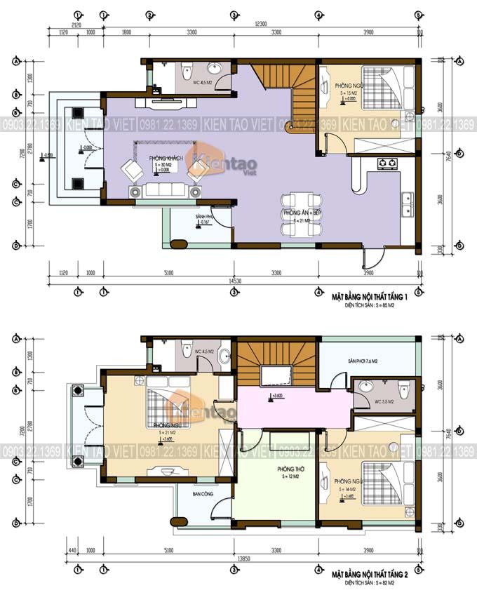 Mặt bằng công năng biệt thự tân cổ điển 2 tầng 7.2x14.5m
