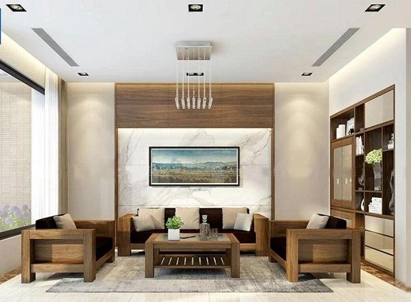 Mẫu phòng khách nhà vuông đơn giản, tinh tế