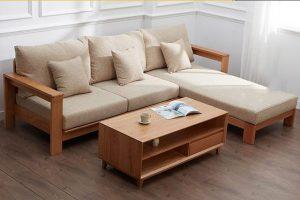 Ghế sofa gỗ đặt kích thước theo yêu cầu mang đến sự hài hòa cho không gian phòng khách